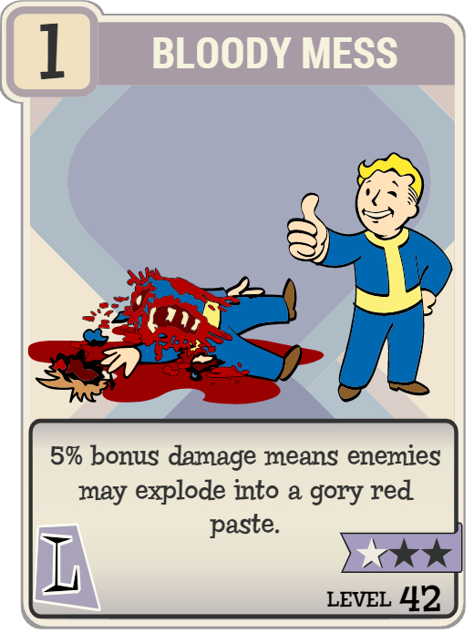 Fallout 76 Bloody Mess Perk Card