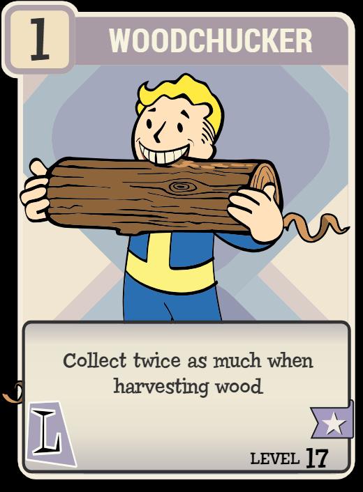 Fallout 76 Woodchucker Perk Card