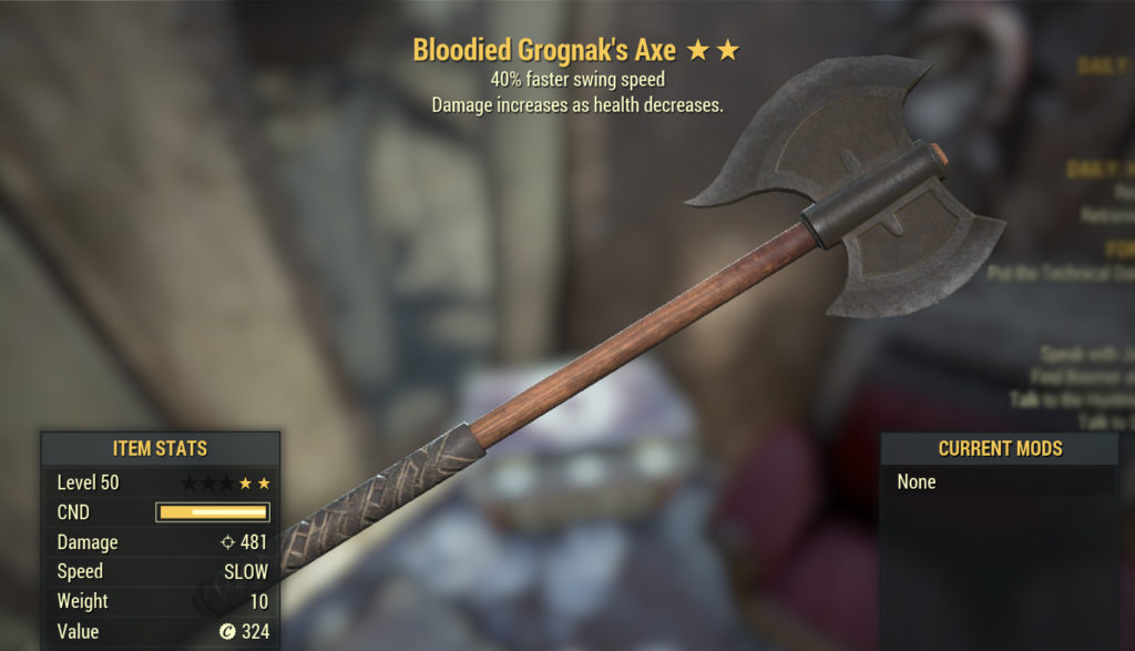 Fallout 76 Bloodied Grognax Axe
