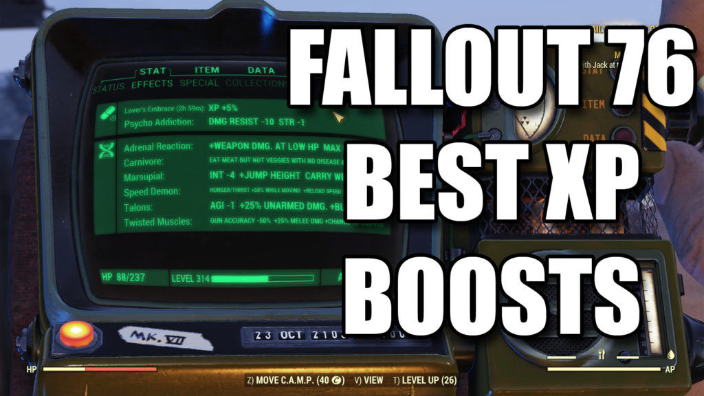 Fallout 76 Best XP Boosts