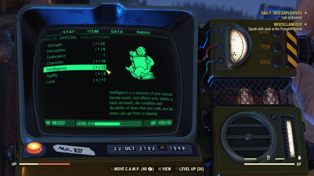 Fallout 76 Intelligence XP Boost