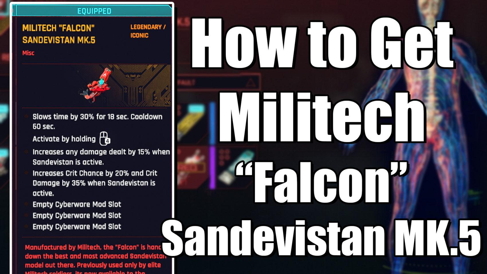 How to get the Militech Falcson Sandevisatn MK.5 in Cyberpunk 2077