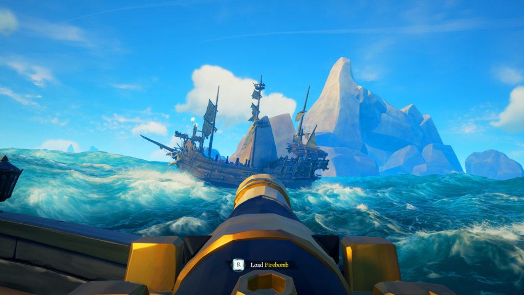 Skeleton Ships Combat Guide Firing Peaceball at Galleon