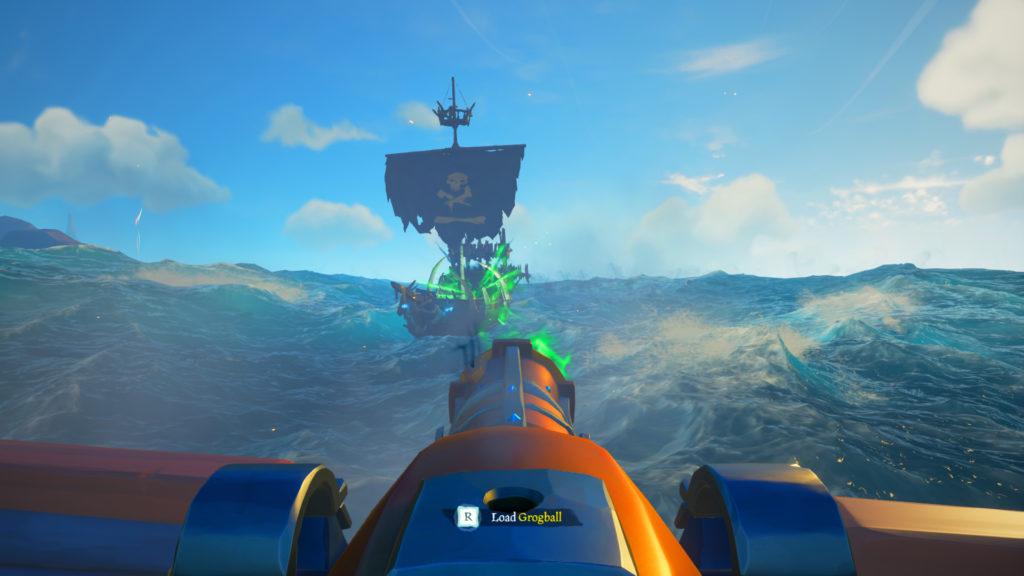 Shooting Cursed Cannonball at Skeleton Sloop Ship