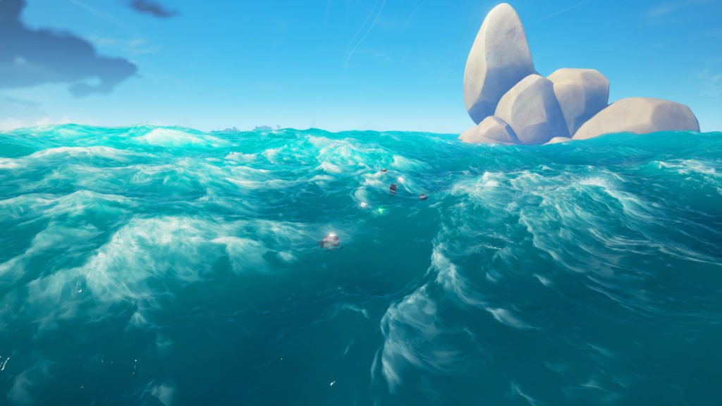 Skeleton Galleon Loot Floating in the Water